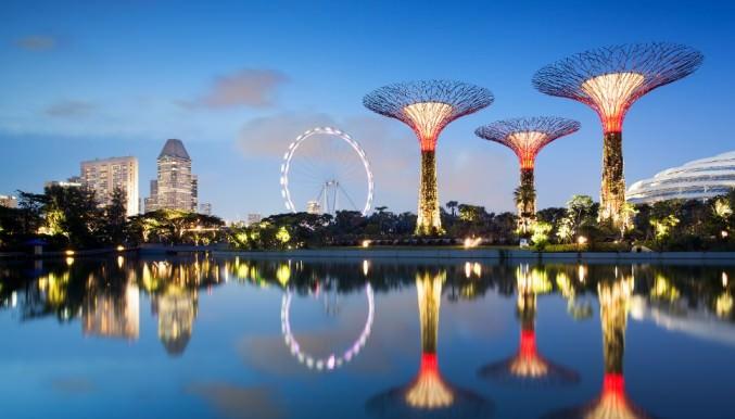Наиболее узнаваемая и популярная не только у туристов, но и местных жителей конструкция Gardens by The Bay Singapore представлена гигантскими футуристическими деревьями