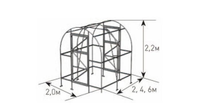 Теплица серии «Дачная-Двушка» имеет незначительные габариты, что позволяет использовать конструкцию для установки на небольших дачных и садовых участках