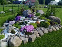 При создании альпийской горки стоит уделить внимание всем составляющим цветника