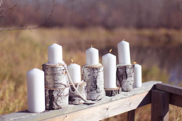 Подсвечник из березового полена создаст уютную и теплую атмосферу в доме