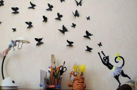 Яркие бабочки на стену своими руками - простое и стильное решения для декорирования стен