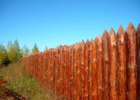 Забор-частокол — один из самых безопасных вариантов ограждения дачной территории