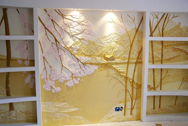 Венецианская декоративная штукатурка создает эффект прозрачности. Для этого задействуют специальную муку из мрамора
