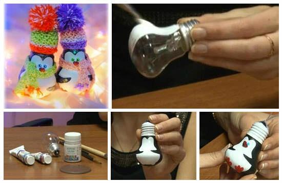 Не спешите выбрасывать перегоревшие стеклянные лампочки, из них получатся прекрасные елочные украшения