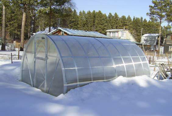 В качестве покрытия используется сотовый поликарбонат, который не нуждается в демонтаже на зимний период