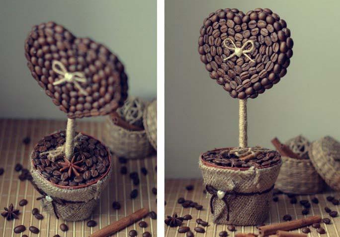 Одним из самых простых вариантов является создание топиария из кофейных зерен