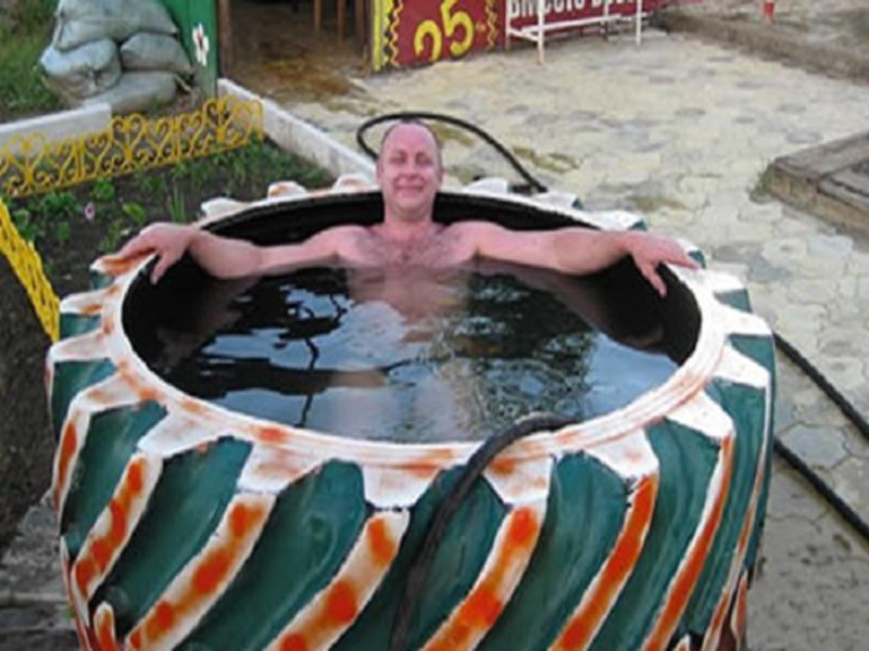 Изготовление бассейна из покрышки