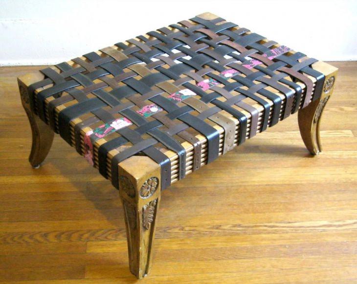 Для того чтобы выполнить оригинальный столик, вам потребуется порядка 25 ремней