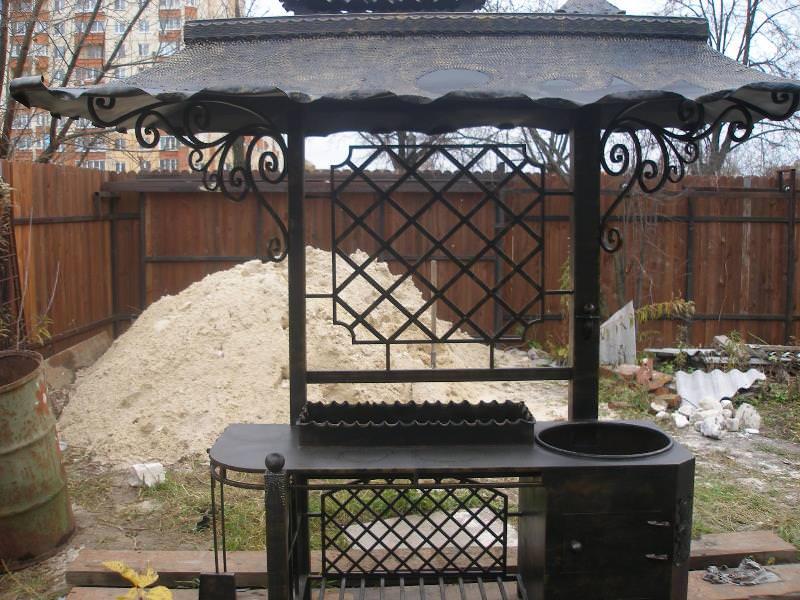 Металлические мангалы с крышей - наиболее распространенный вариант