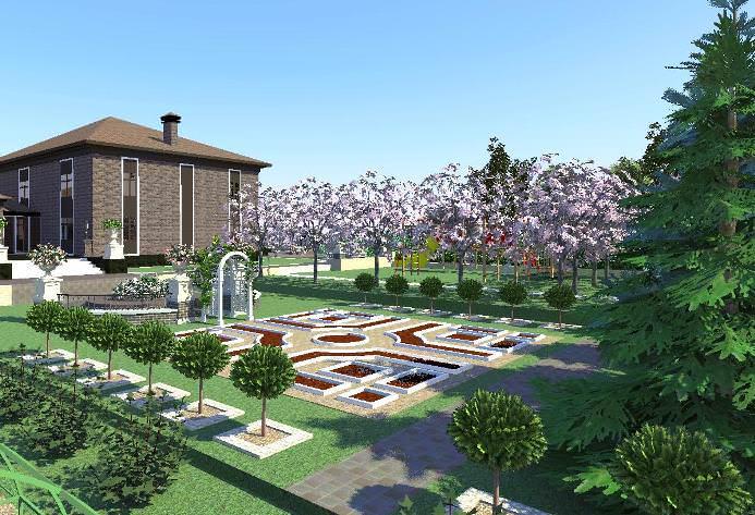 В данном случае огород является центральной композицией в саду