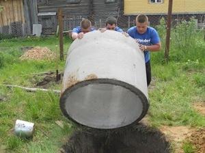 Описание этапов копки и установки бетонных колец