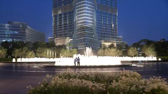 Особую прелесть представляют собой расположенные в центре озер парка «Бурдж Халифа» танцующие фонтаны