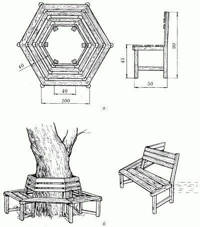 Каркас соединяют согласно схеме (чертеж садовой скамейки фото 1)