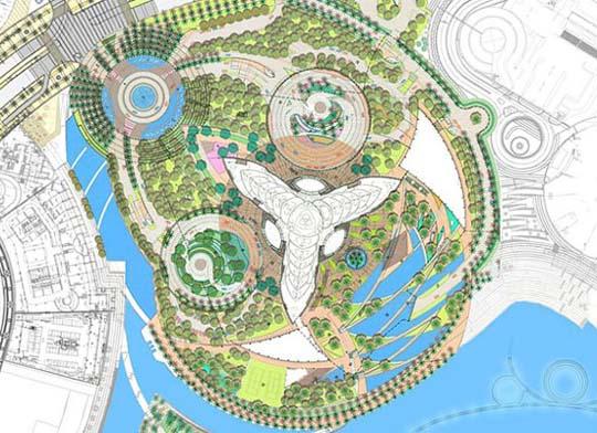 Сады «Бурдж Халифа» расположены так, чтобы их четкий геометрический рисунок можно было наблюдать с большой высоты