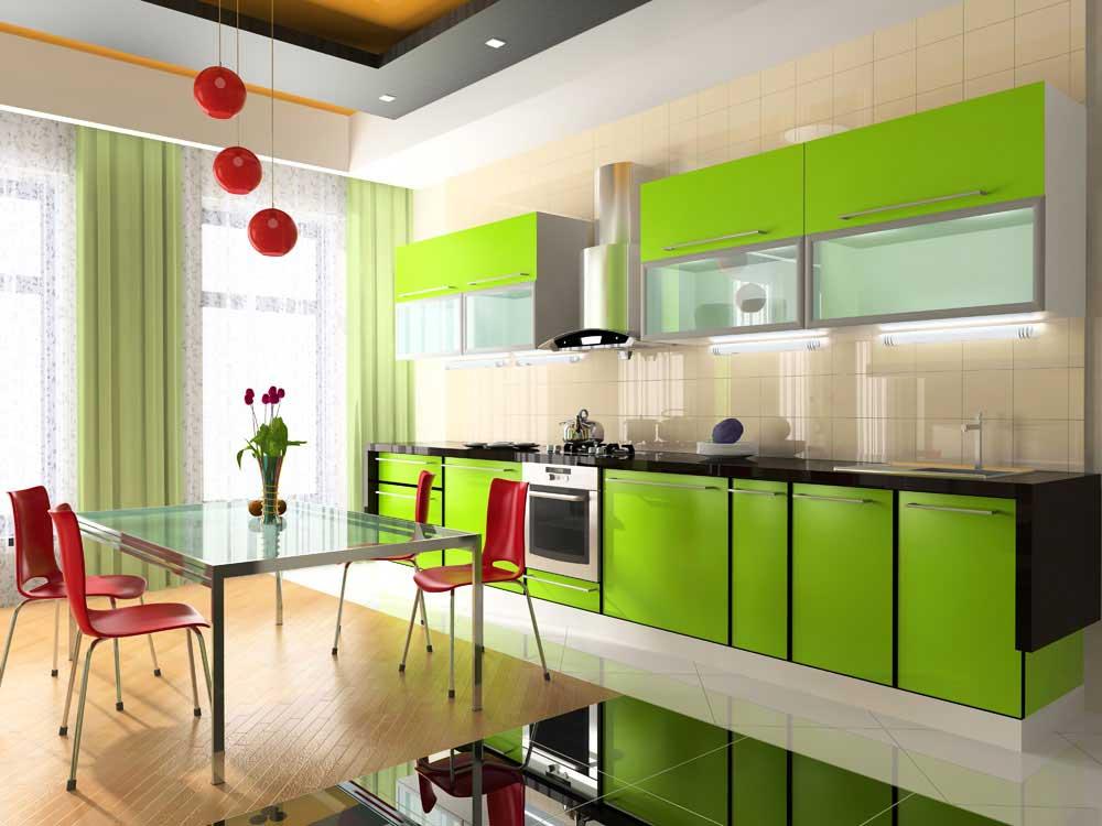 Для оформления кухни многие используют цвета, которые провоцируют хорошее настроение, повышают аппетит и степень жизнерадостности