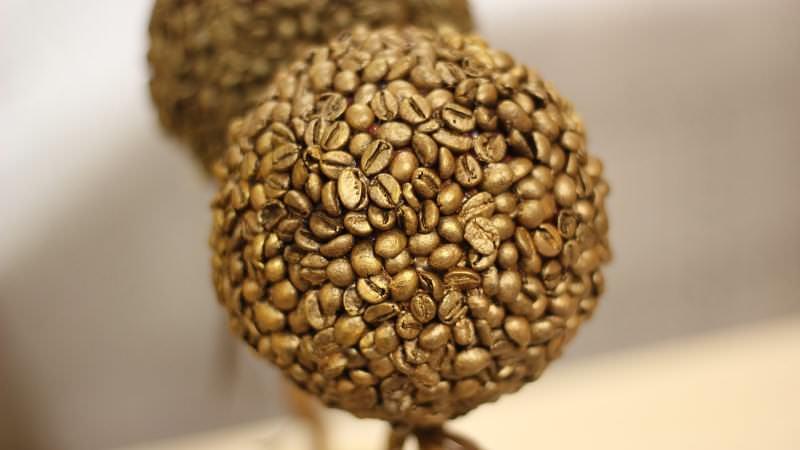 Предлагаем изготовить топиарий своими руками для начинающих, используя кофейные зерна