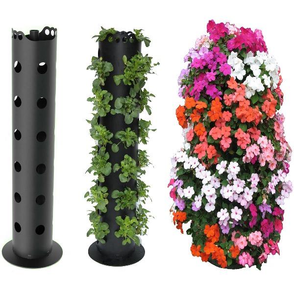 Небольшие культуры, в частности клубнику, можно выращивать в грядке из полимерных труб