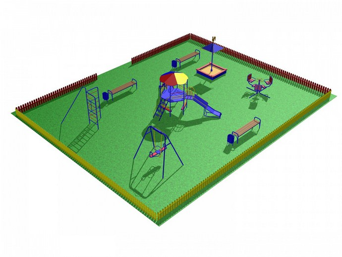 Удобна на дачном участке детская площадка, выполненная в форме манежа